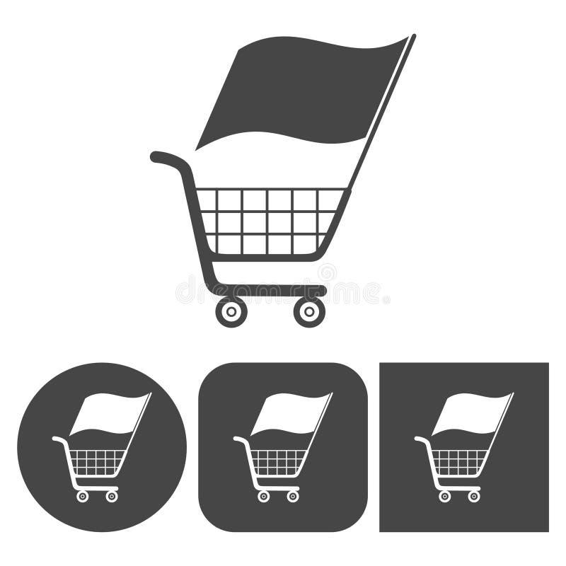 Wózek Na Zakupy - wektorowe ikony ustawiać ilustracja wektor