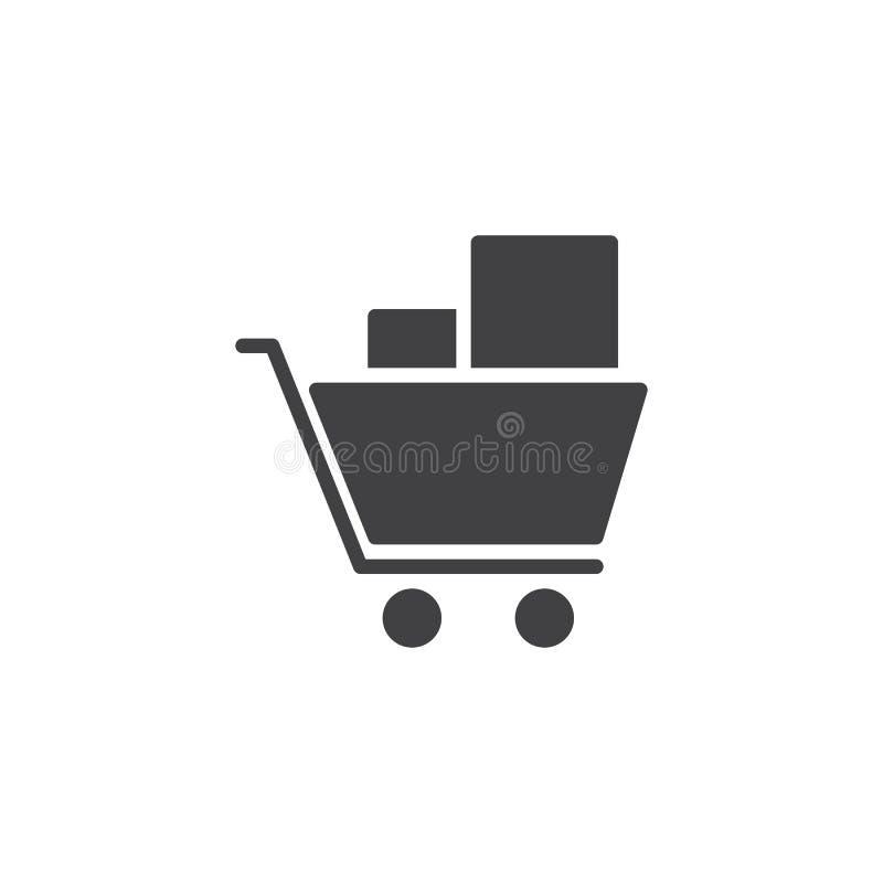 Wózek na zakupy wektoru ikona ilustracji