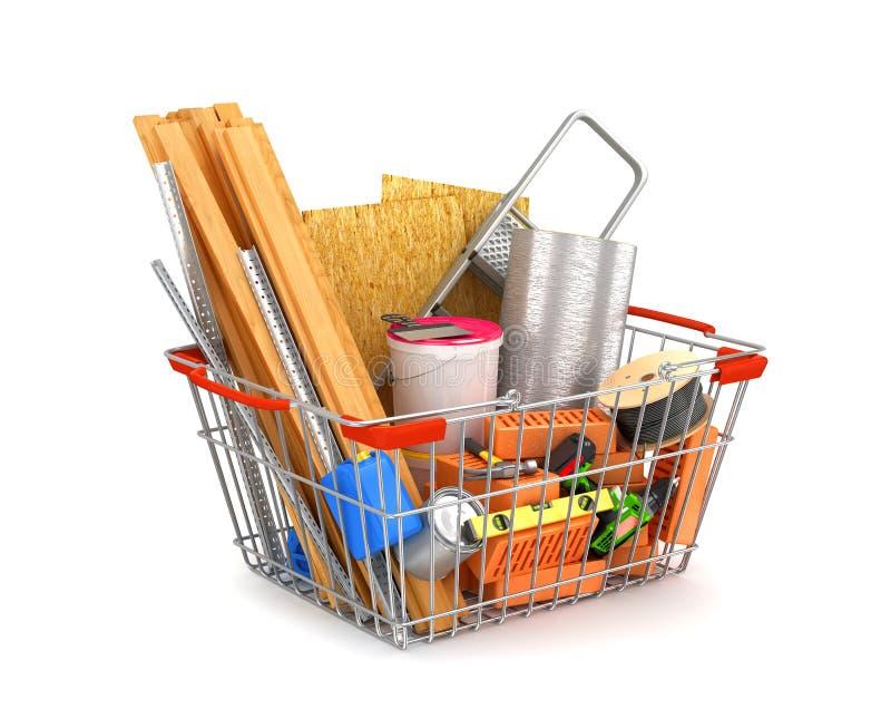 Wózek na zakupy wypełniający z materiałami budowlanymi ilustracji