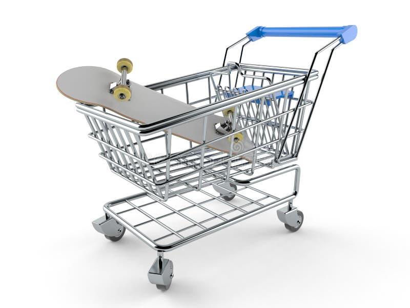 Wózek na zakupy z deskorolka ilustracja wektor
