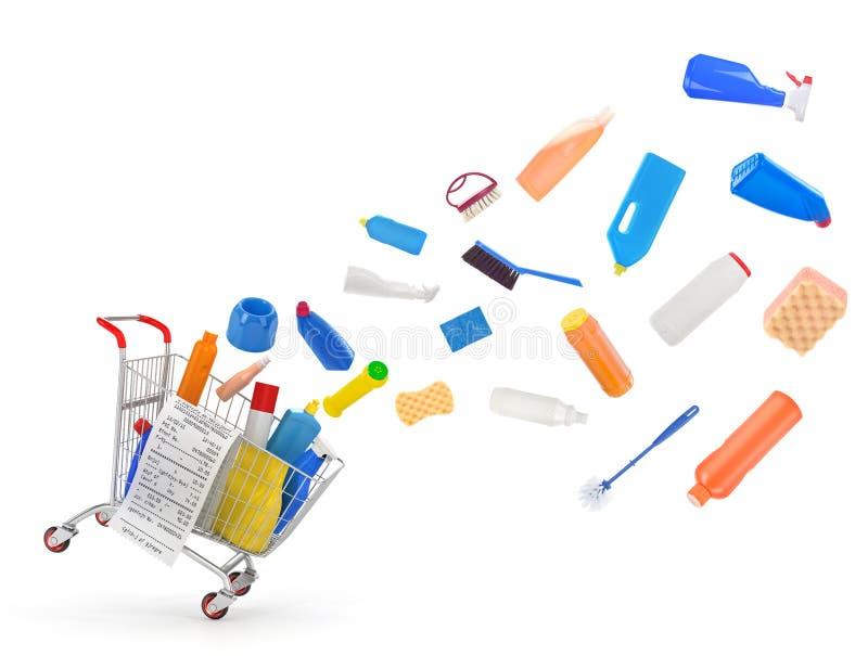 Wózek na zakupy z detergentami zdjęcie stock