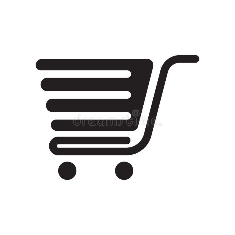 Wózek na zakupy z grill ikony wektorem odizolowywającym na białym backgrou ilustracja wektor
