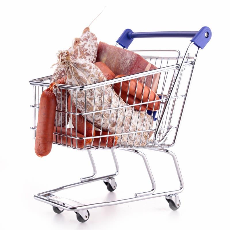 Wózek na zakupy z mięsem obrazy royalty free