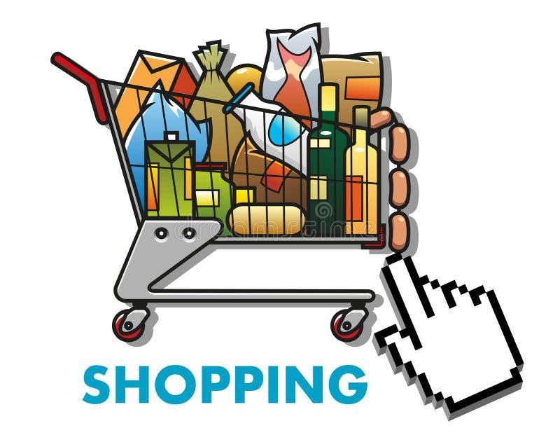Wózek na zakupy z sklepami spożywczymi ilustracji