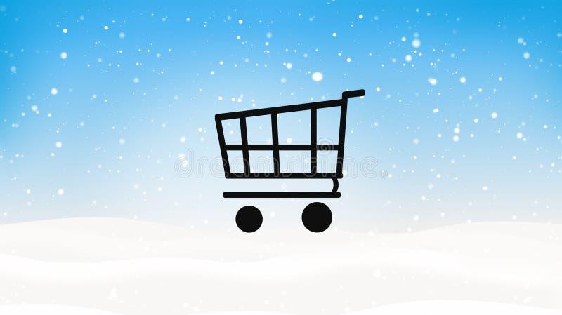 Wózek na zakupy zimy zakupy śnieg ilustracji