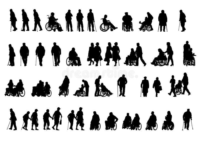 Wózków inwalidzkich ludzie na bielu royalty ilustracja