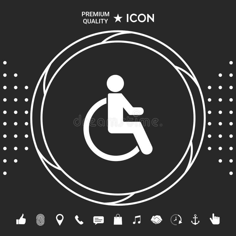 Wózka inwalidzkiego foru ikona Graficzni elementy dla twój designt ilustracji
