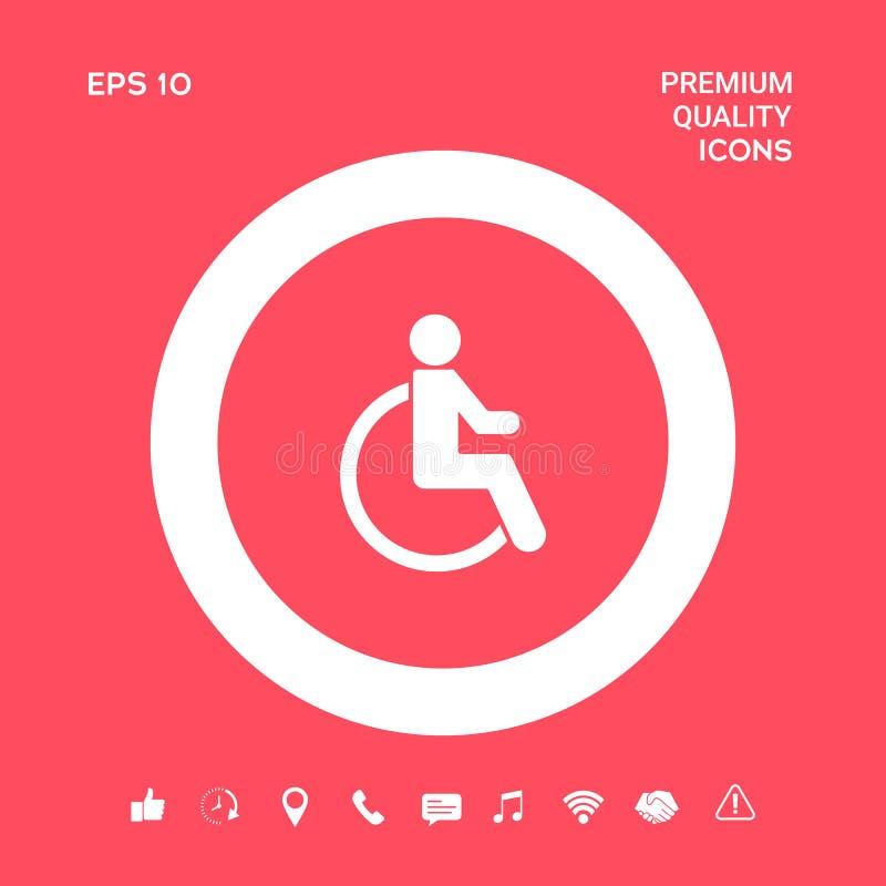 Wózka inwalidzkiego foru ikona Graficzni elementy dla twój projekta royalty ilustracja