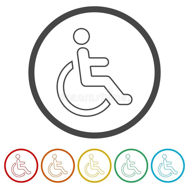 Wózka inwalidzkiego foru ikona Niepełnosprawna szyldowa ikona ilustracja wektor