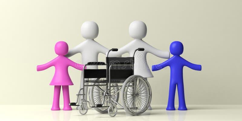 Wózka inwalidzkiego i klingerytu ludzka rodzina odizolowywająca na żółtym tle ilustracja 3 d royalty ilustracja