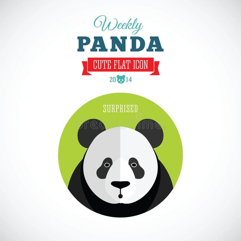 Wöchentlicher Panda Cute Flat Animal Icon - überrascht stock abbildung