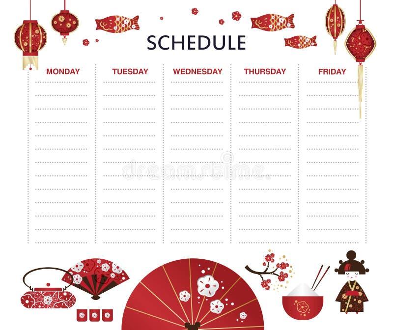 Wöchentlicher Planer des Vektors mit Satz des japanischen Mädchens, Kokeshi-Puppe, Fan, Regenschirm, japanische Laternen, Fische stock abbildung