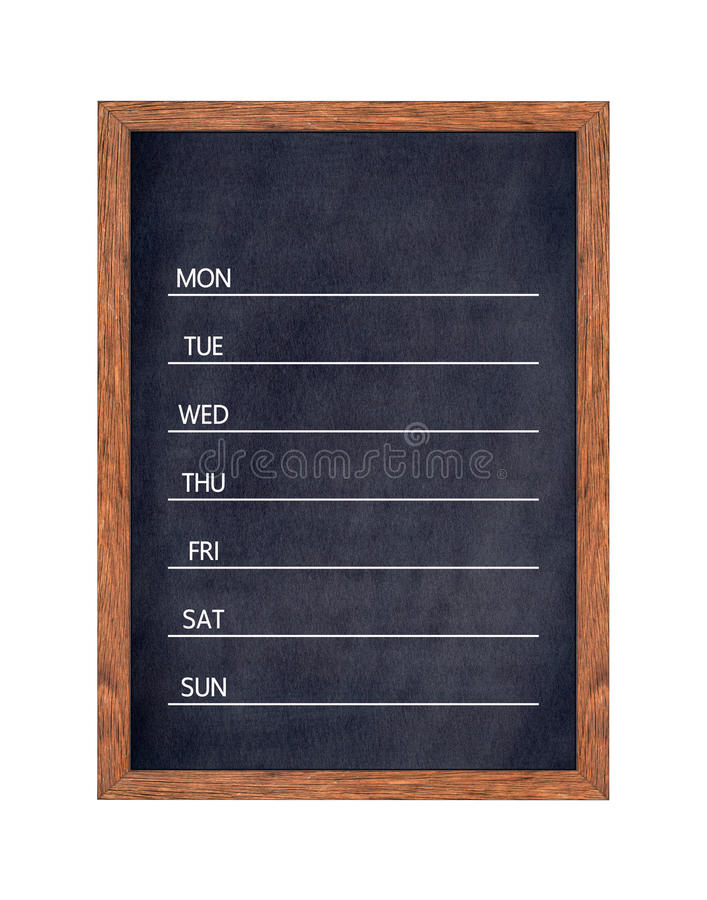 Wöchentlicher Tafelkalender für Ausgangs- oder Büroorganisation stockbilder
