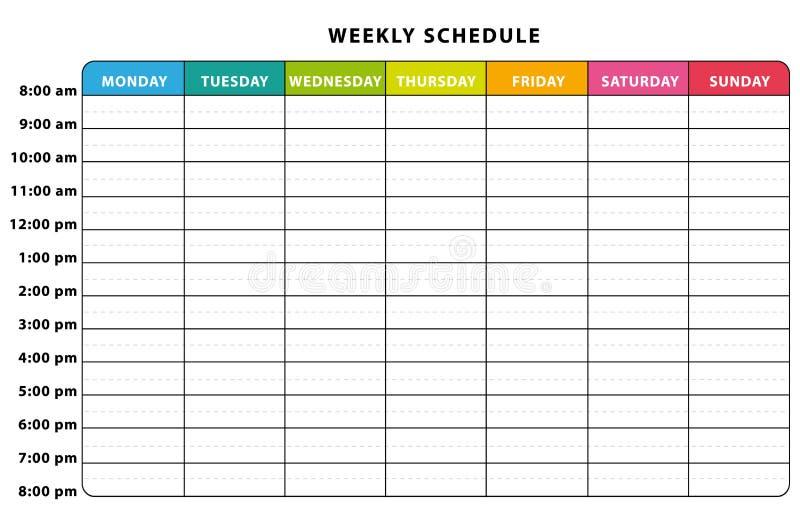 Wöchentlicher Zeitplan vektor abbildung