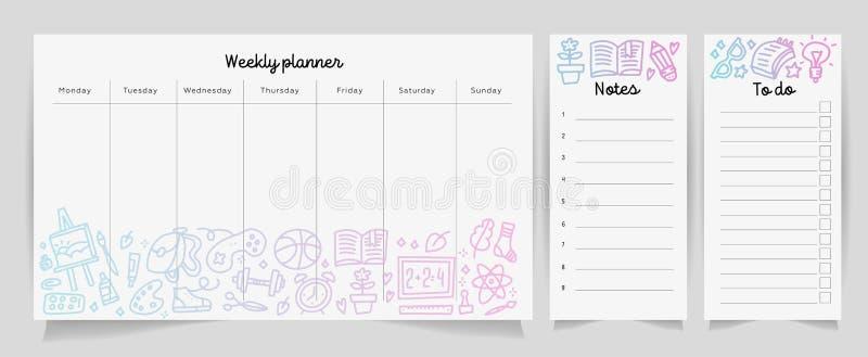 Wöchentliches Planerschablonenkonzept mit Schulbedarfbeschaffenheits-Steigungsmuster Lokalisierter Organisator und Zeitplan mit A stock abbildung