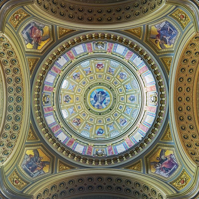 Wölben Sie sich Malerei von St- Stephen` s Basilika in Budapest, Ungarn stockfotos