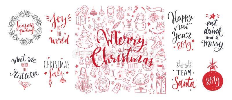 Wörter der frohen Weihnachten und des neuen Jahres auf Weihnachtsbaumdekoration Gezeichnete Beschriftung des Vektors Hand vektor abbildung