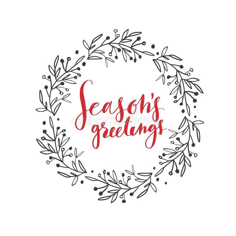 Wörter der frohen Weihnachten und des neuen Jahres Vektorbeschriftung lizenzfreie abbildung