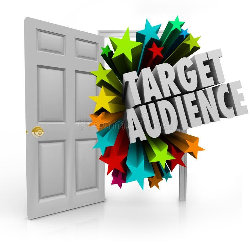 Wörter der Zielgruppe-offenen Tür, die beste Kunden-Nische Prosp finden stock abbildung