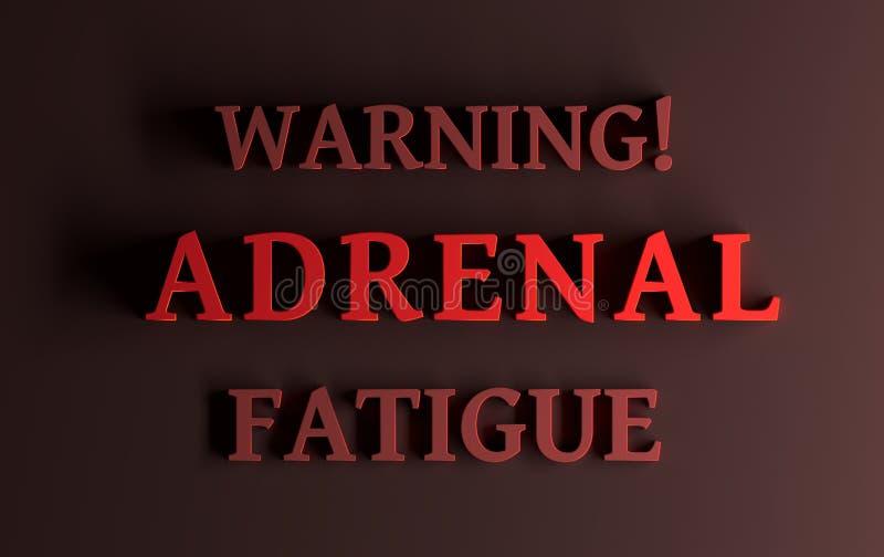 Wörter, die adrenale Ermüdung warnen stock abbildung