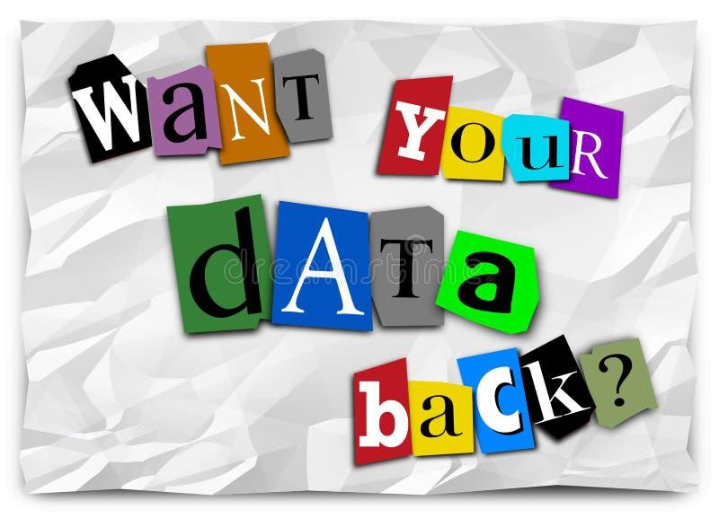 Wünschen Sie Ihre Daten-hintere Lösegeld-Anmerkung zerhacktes Ransomware 3d Illustratio stock abbildung