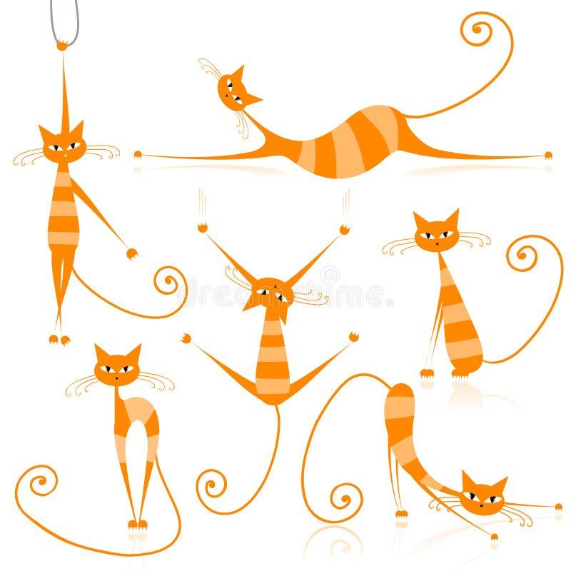 Würdevolle orange gestreifte Katzen für Ihre Auslegung vektor abbildung