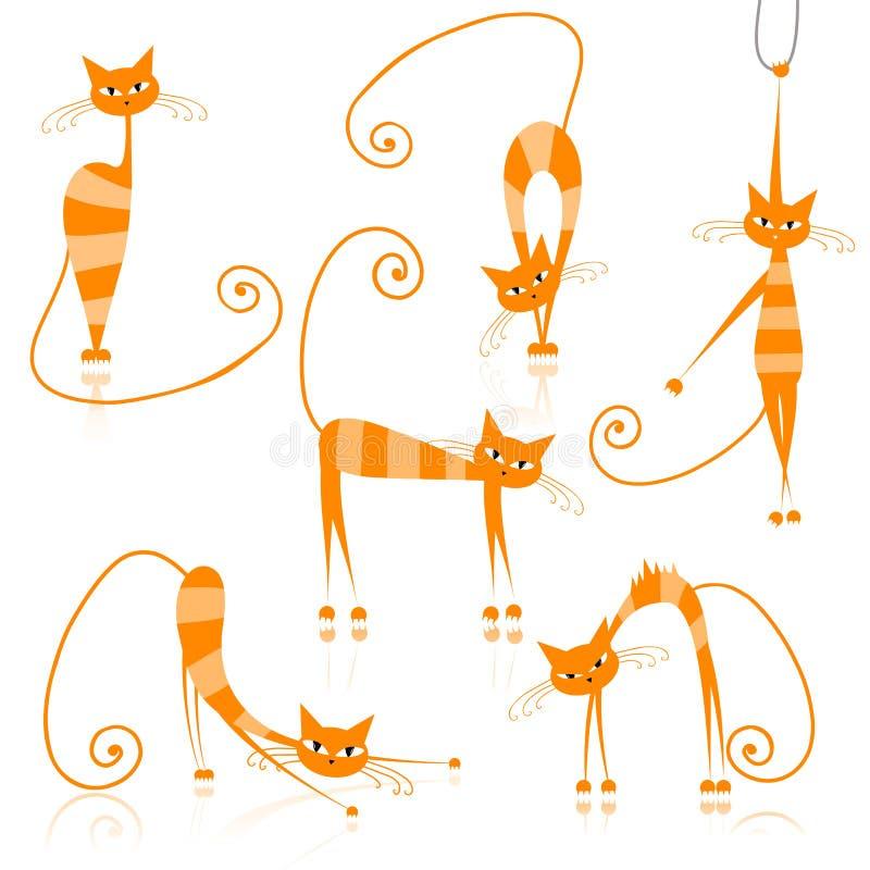 Würdevolle orange gestreifte Katzen für Ihre Auslegung stock abbildung