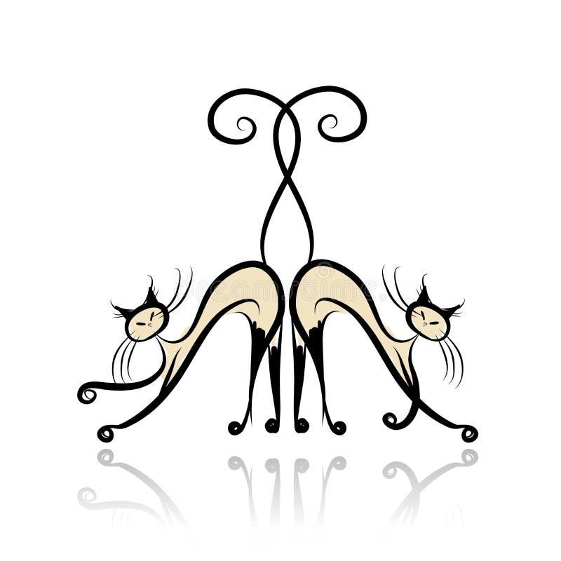 Würdevolle siamesische Katzen für Ihren Entwurf lizenzfreie abbildung