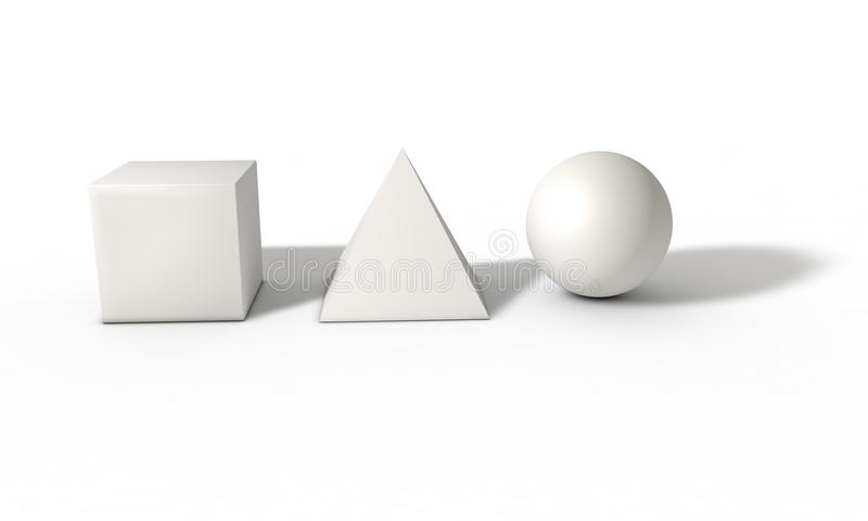 Würfel, Bereich und Pyramide auf dauerndem Weiß, 3d übertragen vektor abbildung