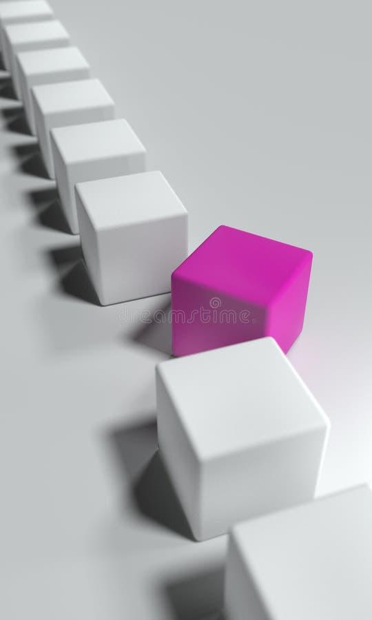 Würfel in der Reihe Ein Stein bricht von der Linie aus Metapher für Individualität lizenzfreies stockbild