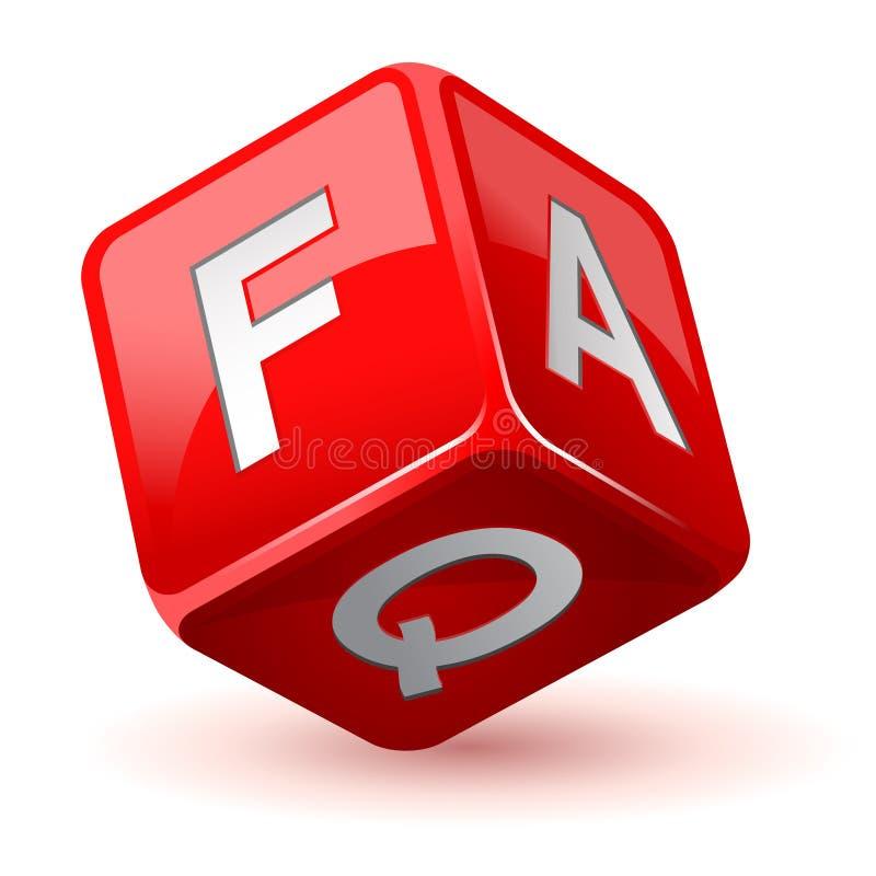 Würfel-FAQ-Ikone vektor abbildung