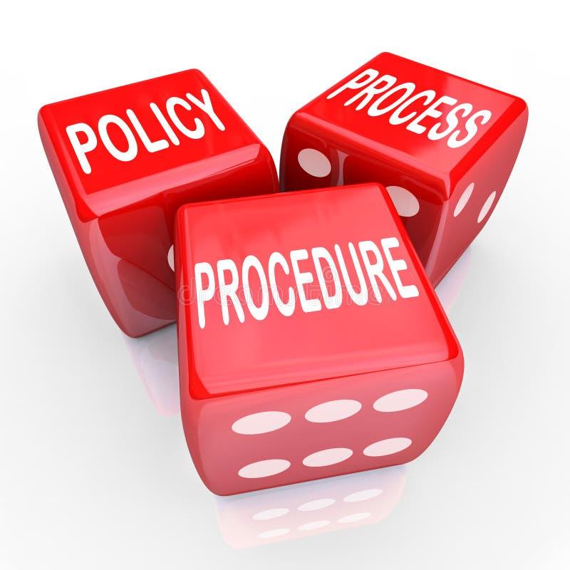 Würfel-Hausregel-Praxis des Politik-Prozessverfahrens-3 rote stock abbildung