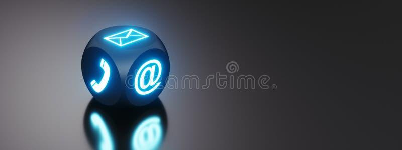 Würfel mit Kommunikationssymbolen auf Tastatur lizenzfreie abbildung