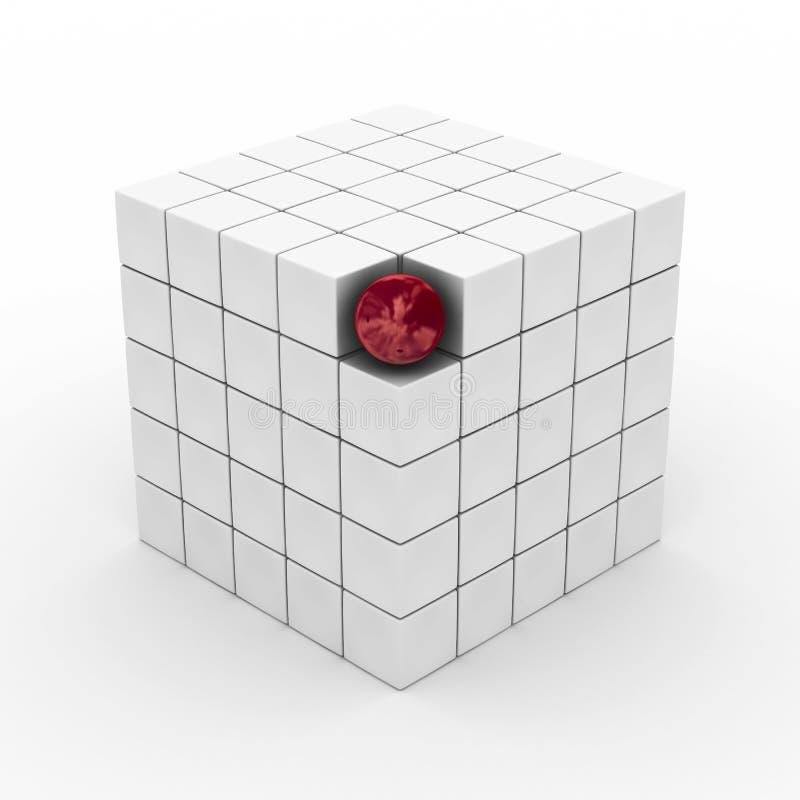 Würfel mit Kugel auf einem weißen Hintergrund. lizenzfreie abbildung