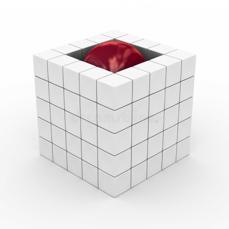 Würfel mit Kugel auf einem weißen Hintergrund. stock abbildung