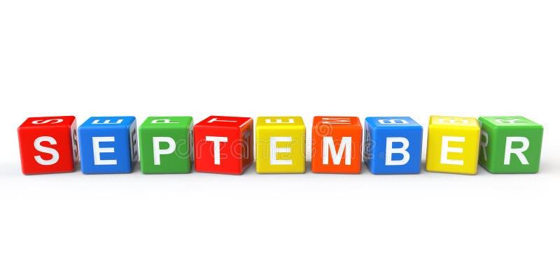 Würfel mit September-Zeichen vektor abbildung