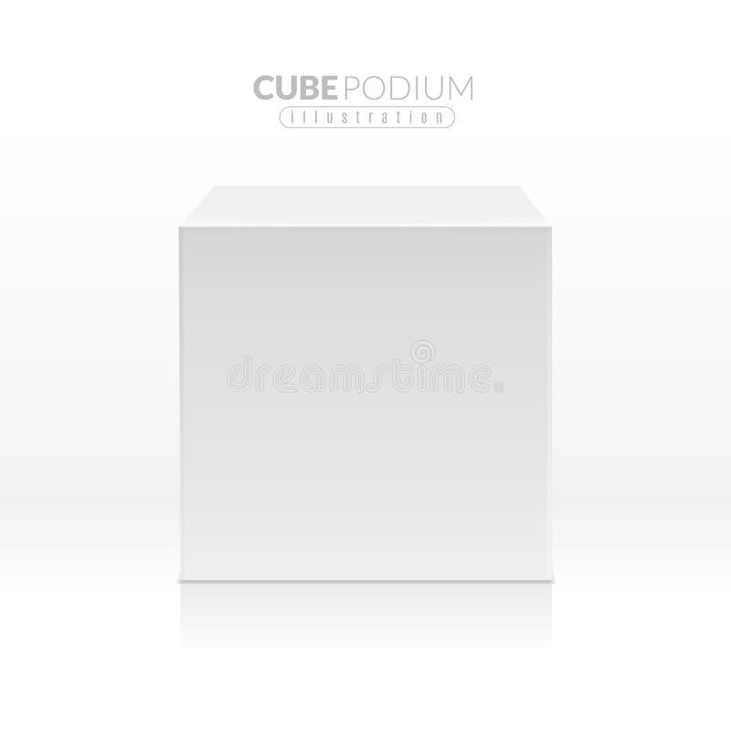 Würfel-Podium Realistischer leerer Block, weißer Kasten mit Vorderansicht Werbestand für Produktpromo, Ausstellungsstand 3d vektor abbildung