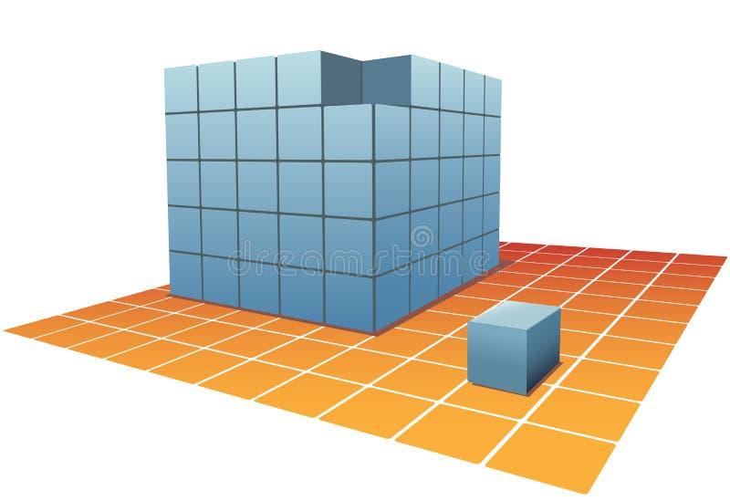 Würfel-Puzzlespiel-Kastenstapel auf Rasterfeldfußboden lizenzfreie abbildung