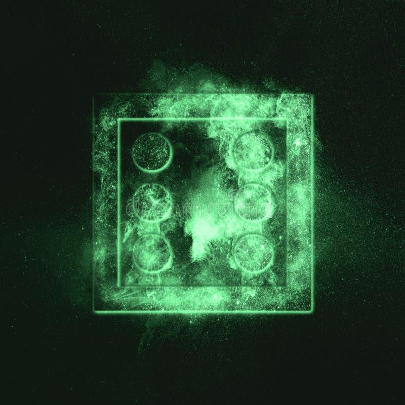 Würfel sechs oben Grünes Symbol stockfotos