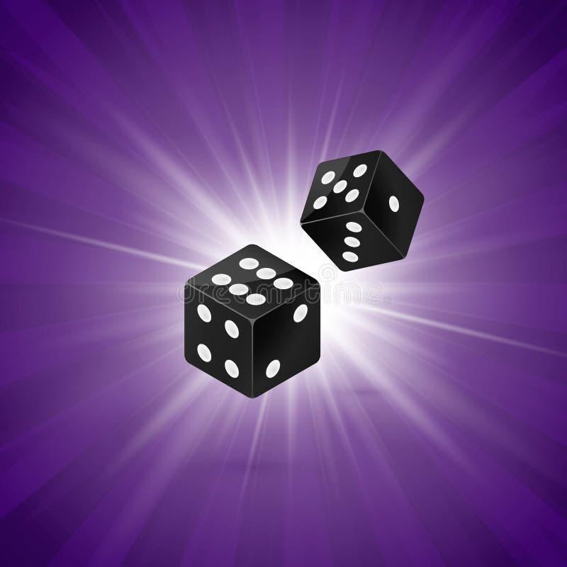 Würfeldesign lokalisiert auf purpurrotem Retro- Hintergrund Schablonenkonzept des Kasinos mit zwei Würfeln spielendes Sieger gewe vektor abbildung