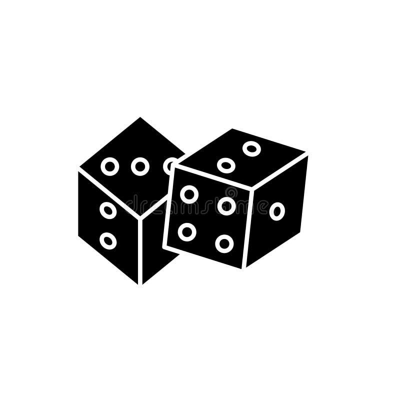 Würfelspielschwarzikone, Vektorzeichen auf lokalisiertem Hintergrund Würfelspielkonzeptsymbol, Illustration stock abbildung