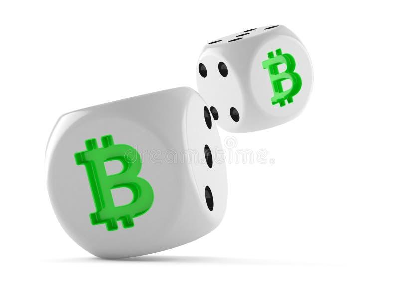 Würfelt mit bitcoin Symbol lizenzfreie abbildung