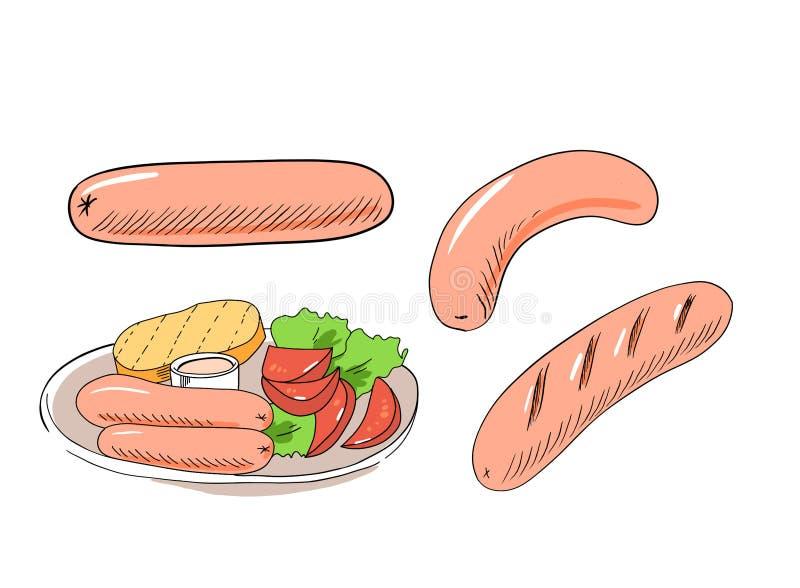 Würstchen, Bratwurst, Gemüse, Toast und Soße Handgefertigte Abbildung auf weißem Hintergrund lizenzfreies stockbild