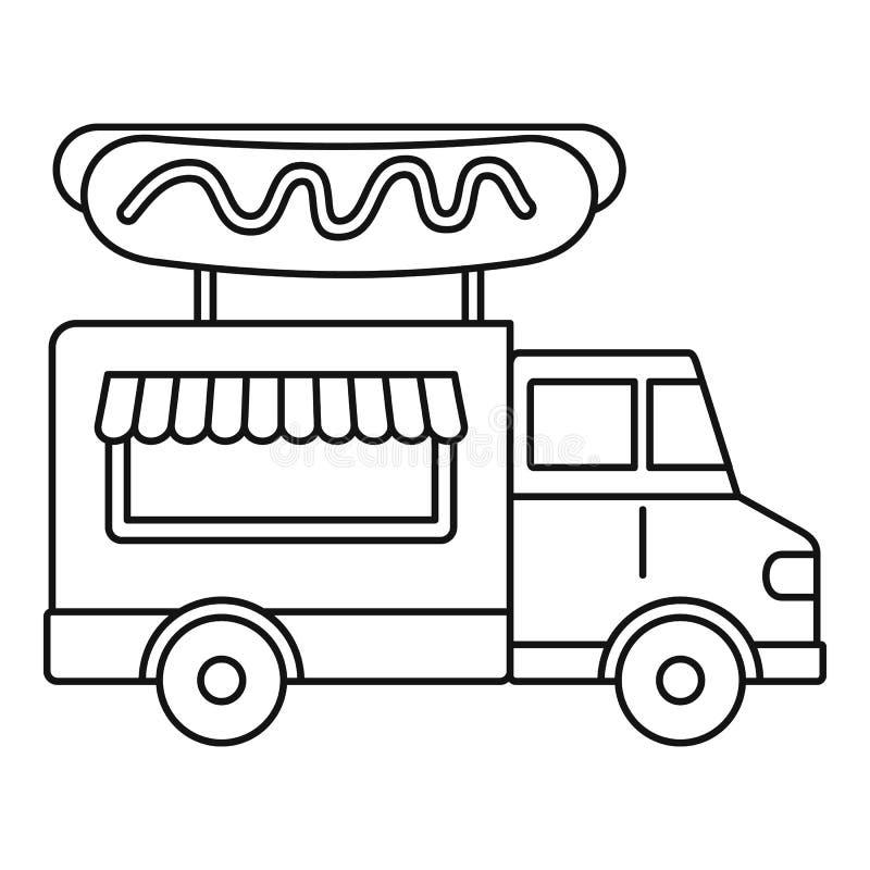 Würstchen-LKW-Ikone, Entwurfsart lizenzfreie abbildung