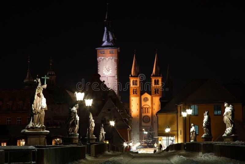 Würzburg Deutschland in der Nacht lizenzfreie stockfotografie