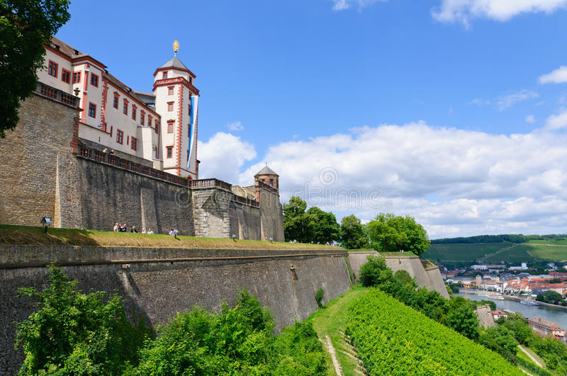 Würzburg, Germany. The Old City of Würzburg and the Marienberg fortress royalty free stock photo