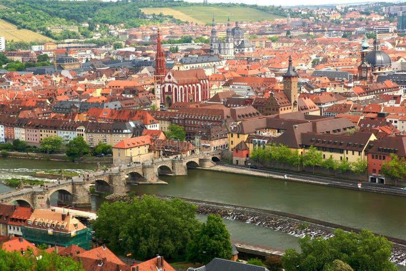 Würzburg van de Vesting Marienberg stock fotografie