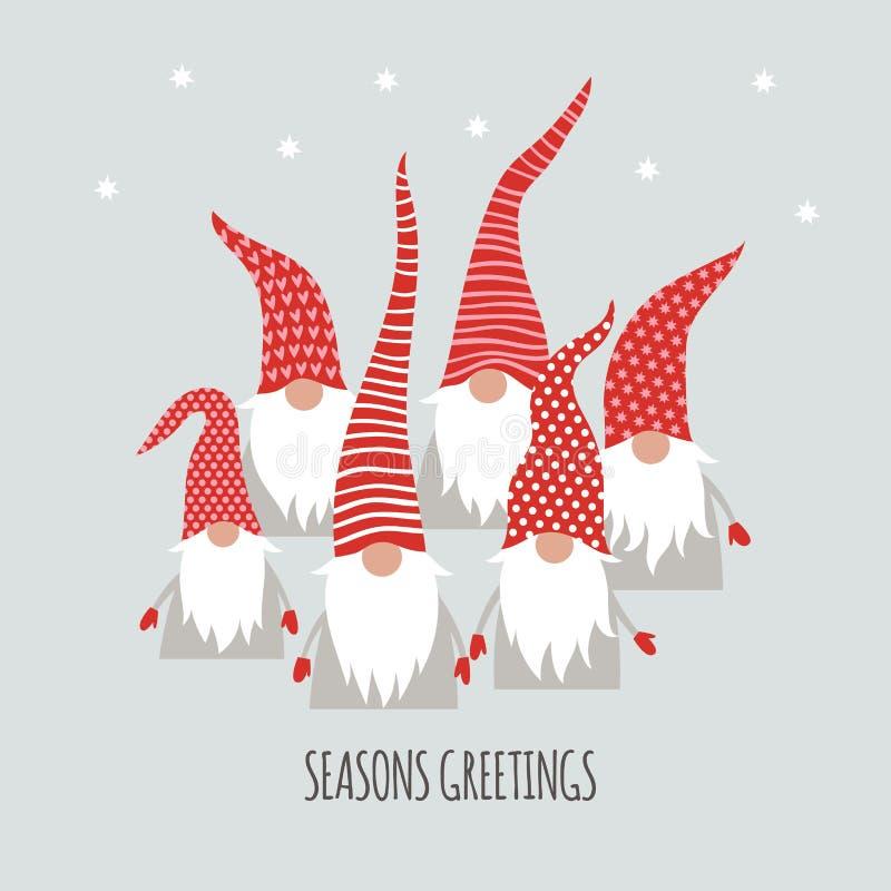 Würzen Sie Grüße, Weihnachtskarte, nette kleine Gnomen lizenzfreie abbildung