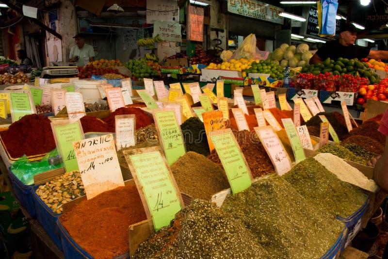 Würzen Sie Stall im Carmel-Markt, Tel Aviv lizenzfreies stockfoto
