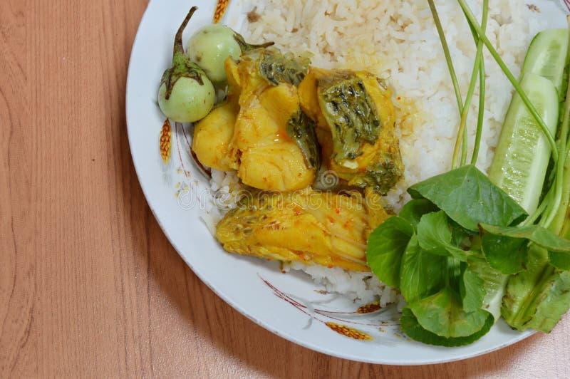 Würzige Fische gekocht in der Currysuppe stockfoto